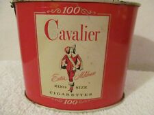 CAVALIER CIGARETTE TIN EMPTY VINTAGE 1953 WITH KEY OPENER AND TAX STAMP
