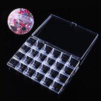 24 Slots Clear Empty Nail Art Decoration Storage Box Rhinestones Crystal Case