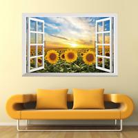 Flower Tree 3D Window View Removable Wall Art Sticker Vinyl Decal Decor Mural