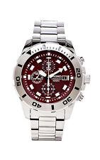 Seiko SNDE15 SNDE15P1 Mens Chronograph Maroon Dial Steel 100m Quartz Watch