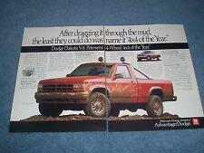"""1991 Dodge Dakota V8 Vintage 2pg Ad """"After Dragging it Thru the Mud..."""""""