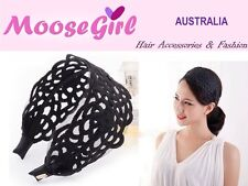 Black Lace Large Floral Wide Headband Soft Alice Band Woman Ladies Hair Band