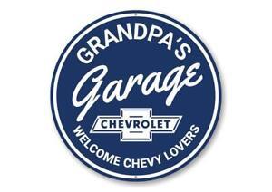 Grandpa's Garage Chevy Lovers Car Sign, Garage Aluminum Sign