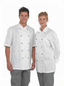 Dennys Lightweight Chef Jacket Black / White and Long or Short Sleeves XS-3XL