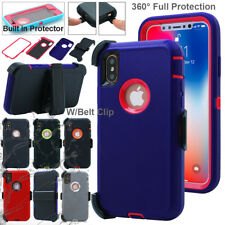 For iPhone X Case Hybrid Shockproof Dirt Water Proof Heavy Duty Cover+Belt Clip
