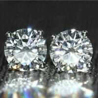 14K White Gold Over 2.00 Ct Round Simulated Moissanite Solitaire Stud Earrings