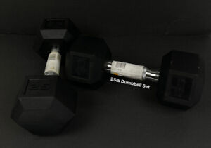 CAP Rubber Coated Hex 25lb Dumbbell Set 50lb Total NEW Stay At Home Gym