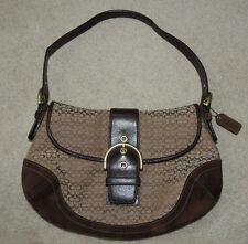 Coach Brown Jacquard Purse Tote Bag, Suede and Leather Accents, G06W-6808
