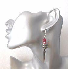 Red/black disco bead/grey spike earrings