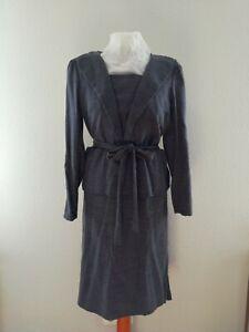 40er Jahre Stil Kleid, blau/grauer Boucle, ca Gr. 34