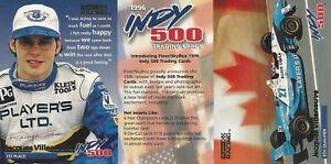 1996 Fleer Skybox Indy 500 2-card Uncut Sheet Jacques Villeneuve