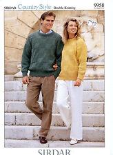 "Sirdar Country Style DK Knitting Pattern 9958 Unisex Sweater Men & Women 30""-48"""