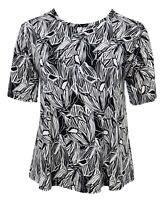 Womens New Black White Flower Head Print Sparkly Silver Polka T-shirt Top