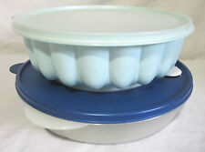TUPPERWARE MICROWAVE ROUND DISH W/ VENTED LID & JEL N SERVE JELLO MOLD 3 PC