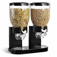 500g Double Cereal Dispenser Dry Food Kitchen Storage Container Machine Black