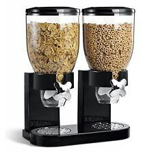 500g Dispensador De Cereal Doble Cocina Contenedor de almacenamiento de alimentos secos Negro