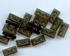 LEGO 10 X Trans-Black Plate 1 x 2 [3025 6225] NUOVO