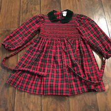CARRIAGE BOUTIQUES Smocked Christmas Holiday Dress SIZE 6 Red/green Plaid