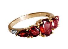 Dekorativer  Ring mit Granat und Diamanten, Silber vergoldet RG 52