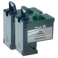 2 Pack Black Cartridge Compatible For Lexmark 16 Ink 10N0016 X1150 X1160 X2250