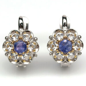 NATURAL 4 mm. BLUE TANZANITE & WHITE CZ 925 STERLING SILVER EARRINGS