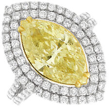 Fancy Yellow Marquise & Round Diamond Engagement Ring 2.7 CTW 18k GIA Certified