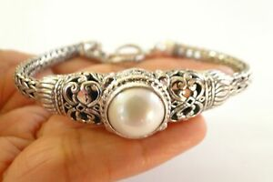White Mabe Pearl Ornate Balinese Sterling Silver Toggle Bracelet