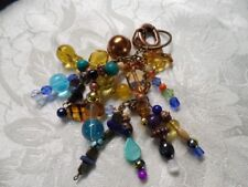 Chunky Beaded Purse Dangle Suncatcher Handcrafted BoHO Blues/Browns