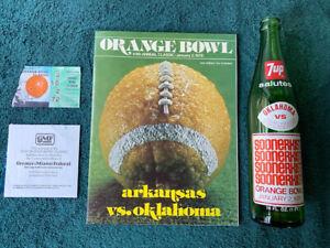 GROUP OF 1978 OKLAHOMA/ARKANSAS ORANGE BOWL ITEMS: PROGRAM, STUB, 7UP BOTTLE,ETC