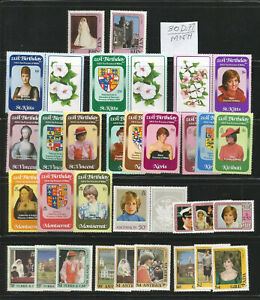 Diana Princess of Wales 21st Birthday Issues 30 diff.Stamps& 14 diff Souv.Sheets