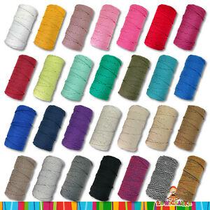 100 m Baumwollkordel geflochten Schnur Seil Makramee Ø 5 mm   28 Farben Auswahl