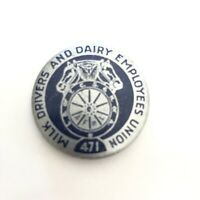 Milk Drivers & Dairy Employees Union No 471 Silver Blue Labor Pinback Pin Button