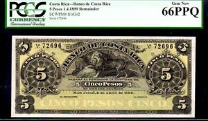 "COSTA RICA P S163r2 ""LION"" 5 PESOS 1899 PCGS 66PQ"