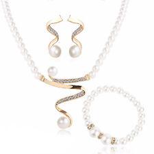 White Pearls Gold Rhinestone Shiny Jewellery Set Necklace Bracelet Earrings S927