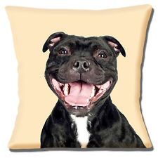 "Staffordshire Bull Terrier 16x16"" 40cm Cushion Cover Staffie Laughing Staffy Dog"