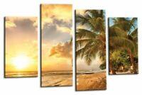Sunset Seascape Wall Art Orange Gold Green Tropical Beach Canvas Split Picture