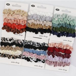 6/5x Satin Silk Scrunchies Elastic Hair Bands Scrunchy Bobbles Hair Ropes Rings