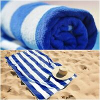 2 x SWIMMING POOL BEACH TOWEL 100% COTTON BLUE WHITE STRIPED BATH SHEET TOWELS