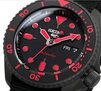 New SEIKO 5 SRPD83K1 Automatic Black Dial Black Nylon Strap Men's Watch
