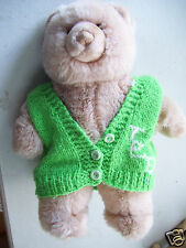 "Gund Soft Cuddly Plush Stuffed animal 14"" Bear In Ted Green Knitted Sweater"