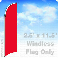 Solid Color RED - Windless Swooper Feather Flag Banner Sign 2.5x11.5' - rb