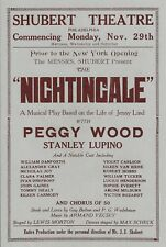 """Peggy Wood """"NIGHTINGALE"""" (Jenny Lind) Stanley Lupino 1926 Tryout Herald (Flyer)"""