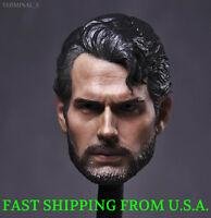 "1/6 Superman Head Sculpt Henry Cavill Man of Steel For 12"" Hot Toys Figure ❶USA❶"