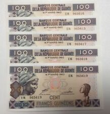 5 X BANKNOTE FRANCS Guineens 100 CENT Unc,TOP 2012