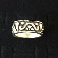 Vintage Sterling Silver Ring Ornate Squared Band Mexico Scroll Tribal Heavy Sz 8
