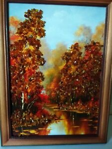 Amber Genuine Picture Autumn Birches Wooden Pine Natural Frame VG2027