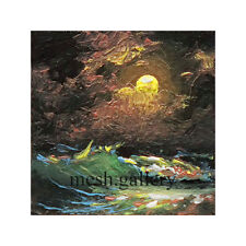 660 -1x1 MINIATURE ORIGINAL OIL PAINTING SEASCAPE FINE ART Night Moon Storm MESH