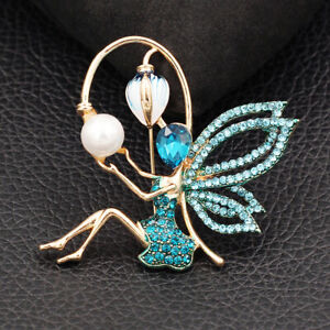 Betsey Johnson Enamel Crystal Cute Elf Angel Wings Girl Charm Brooch Pin Gift