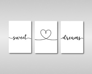 Sweet Dreams with Heart Quote Floating Metal Wall Art Print. Bedroom. Good Night