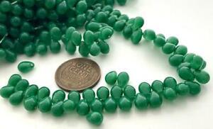 Vintage 4 x 6mm Jade Green Glass Drop Beads 40
